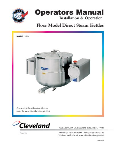 Cleveland PowerPan SEL-40-T1 Specifications Cleveland